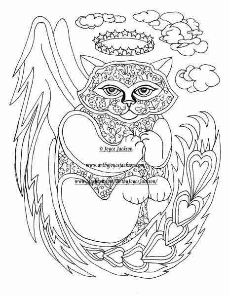 Angel Kitty Coloring Page